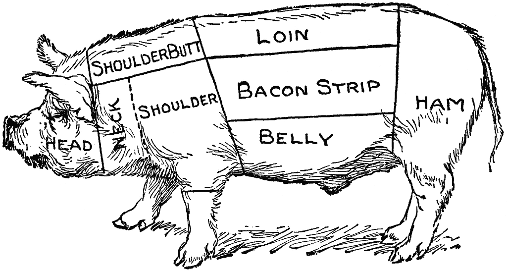 Diagram of the different cuts of a pig